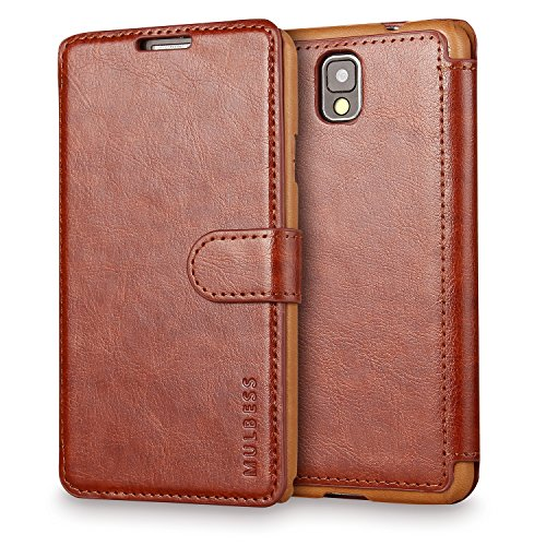 Mulbess Layered Dandy Custodia per Samsung Galaxy Note 3, Cover a Libro Samsung Galaxy Note 3, Custodia in Pelle Samsung Galaxy Note 3 Cover per Samsung Galaxy Note 3, Marrone
