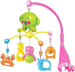 Fenteer 2色選択 軽音楽 360度回転する 動物モデル ベビーベッド 寝具 おもちゃ ベッドメリー モビール ベビートイ - ピンク