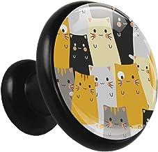 Kristallen glazen lade trekt schattige kat naadloze ronde lade knop, zwarte keuken kast knop, badkamer kast trekken, deurk...