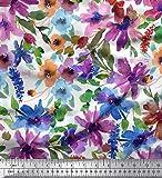 Soimoi Blanco seda Tela flor y hojas acuarela estampada de tela por metro 42...