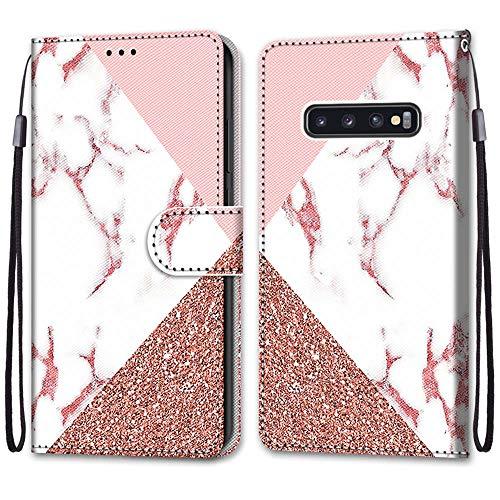Nadoli Handyhülle Leder für Samsung Galaxy S10 Plus,Bunt Bemalt Rosa Marmor Trageschlaufe Kartenfach Magnet Ständer Schutzhülle Brieftasche Ledertasche Tasche Etui