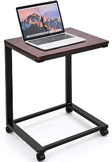 COSTWAY Table d'ordinateur Portable Bureau Informatique avec 4 roulettes Table d'appoint pour Ordinateur Table de Lit Plat...