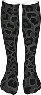 Seamless Black Leopard Print Compression Sock Women & Men - Best Running, Athletic Sports (24in60cm)