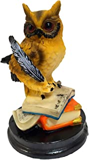 HOMERRY Small Eagle Owl Figurines on Books Decorative Home Ornament Resin Animal Sculpture - Owl of Wisdom and Knowledge -4.5in Collectible Animal Figurine