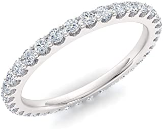 Diamondere Natural and Certified Gemstone Wedding Ring in 14K White Gold | Full Eternity Stackable Band for Women, US Size 4 to 10