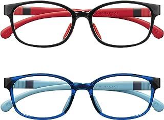 NineUp Kids Blue Light Blocking Glasses 2 Pack, for Boys Girls Teens Age 3-12,Gaming/Computer/Phone/TV Glasses, Anti Glare & Eyestrain & UV Protection (Black+Transparent Blue)