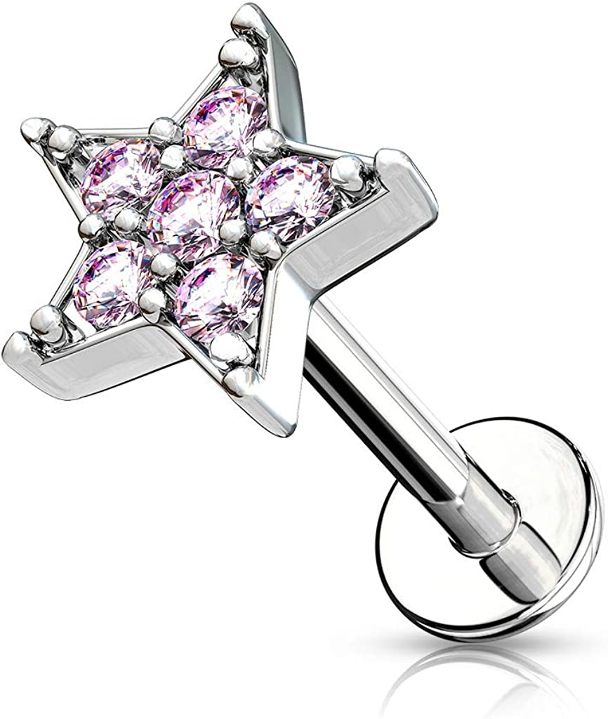 MoBody Tampa Mall Max 57% OFF 16G CZ Paved Star Top Labret Steel Surgical Piercing Inte