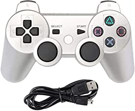 Tidoom PS3 Controller Wireless Bluetooth Six Axis Dualshock Game Controller Compatible for Playstation 3 Dualshock 3 Gamepad with Charging Cable Silver