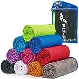 Fit-Flip Cooling Towel per Lo Sport e la Palestra 100x30cm, Asciugamano in Microfibra Come Asciugamano rinfrescante per Corsa, Trekking, Viaggio e Yoga – Colore: Nero - Verde Neon, Misura: 100x30cm