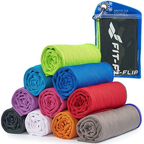 Cooling Towel für Sport & Fitness, Mikrofaser Handtuch/Kühltuch als kühlendes Handtuch für Laufen, Trekking, Reise & Yoga, Cooling Towel, Farbe: schwarz-neon grüner Rand, Größe: 100x30cm
