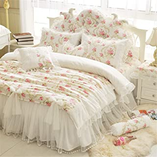 LELVA Girls Bedding Set Lace Ruffle Duvet Cover Sets with Bed Skirt White Princess Bedding Set Vintage Floral Print Duvet ...