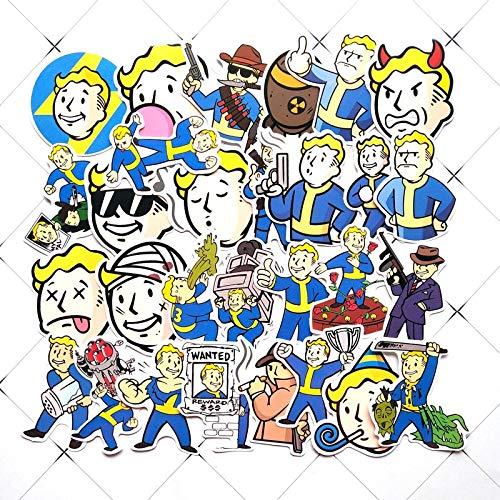 YZFCL Juego de radiación, Parte de cómics de PVC, Pegatina de Dibujos Animados Lindo, Maleta, monopatín, Caja de Carro, portátil, calcomanía Impermeable, 29 Piezas