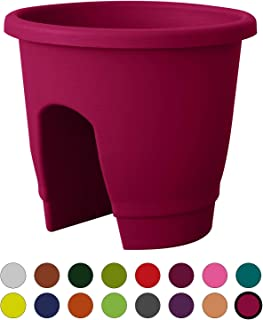 ALMI Balcony Deck Rail Planter Box with Drainage Trays, Bloomers Railing Round Pot, Drainage Holes, Weatherproof Resin Planter, 12 Inch, Indoor & Outdoor, Fuchsia