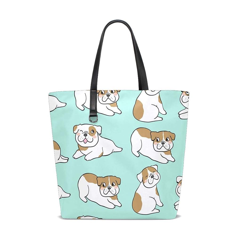 最も早いテープパットトートバッグ かばん ポリエステル+レザー 可愛い犬柄 両面使える 大容量 通勤通学 メンズ レディース