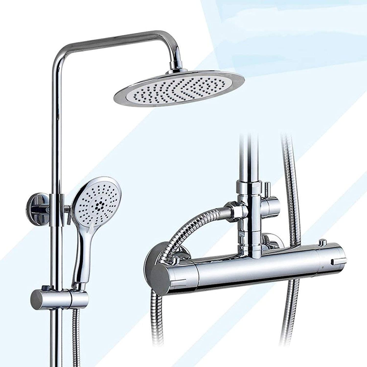 FFWFW Smart thermostatic shower set hot and cold faucet full copper main bathroom pressurized liftable shower (color   A)