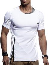 LEIF NELSON señores Camiseta de Moda con Capucha de Manga Corta Cuello Redondo longsle Moderno Basic