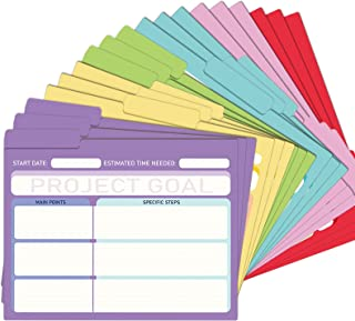 EOOUT 18 Pack Project File Folders with Tabs, Manila, Notes File Folders, Letter Size, 6 Assorted Colors, 11.5x9.5inch, 1/...