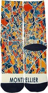 Custom Men's Women's Full Color Map Poster Montpellier France Socks Novelty Cartoon Creative Casual Crew Socks
