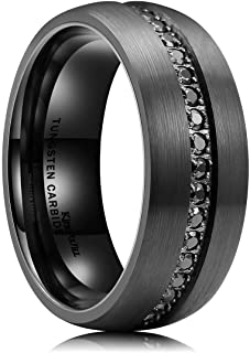 King Will GEM 8mm Mens Black Tungsten Carbide Wedding Ring CNC CZ Inlaid Brushed Surface Domed Style