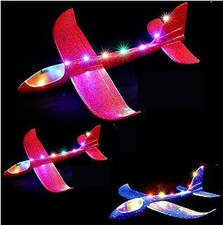3 stycken flygplansleksak, 2 typer av flyglägesskumglidare, för barn, flygande leksak med blinkande ljus, 18,9 tum (48 c...