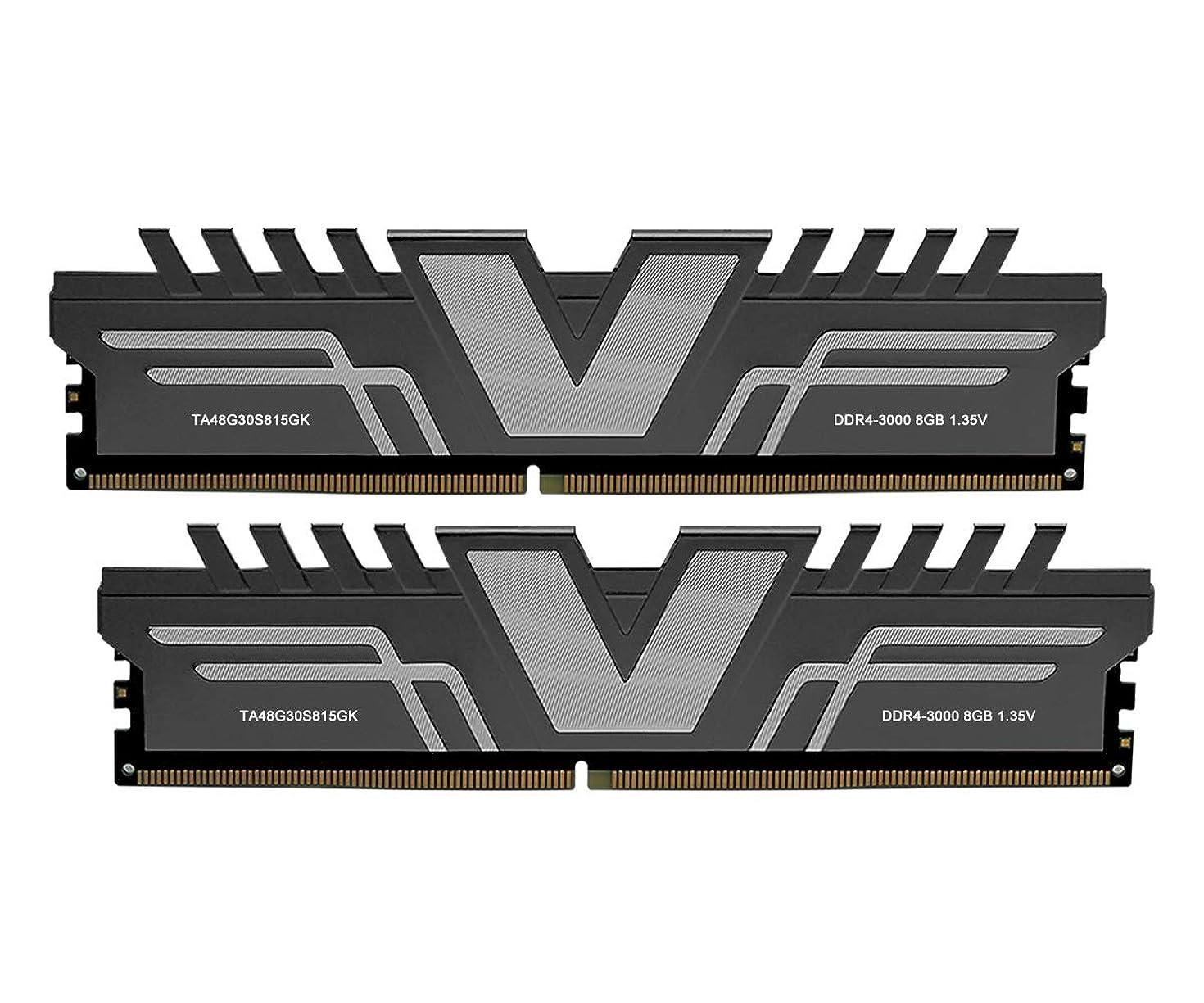 V-Color Skywalker Series 16GB (2 x 8GB) DDR4 DRAM 3000MHz (PC4-24000) CL15 1.35V Desktop Memory Model Grey (TA48G30S815GK)