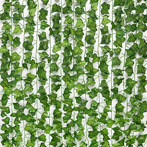 SOMONEY Artificial Ivy 15 Pack 105 Ft, Artificial Ivy Leaf Garland Plants Fake Ivy Vine Hanging for Wedding Party Garden Wall Decoration