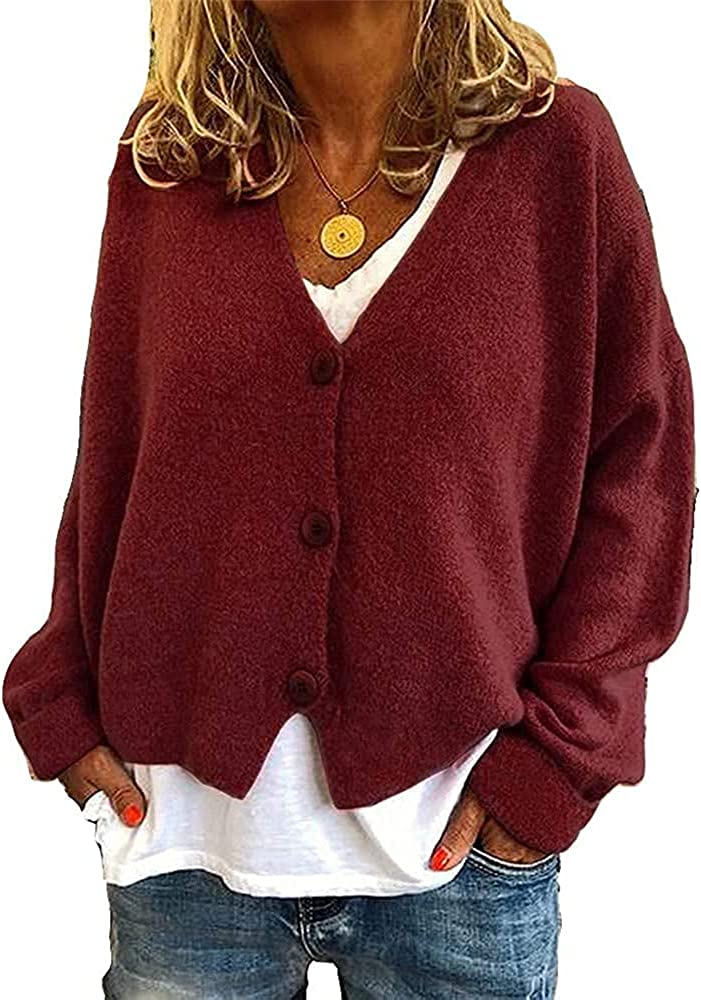 Women Long Open Front Knitted Cardigan Sweater Coat Classic Long Sleeve Solid Colour