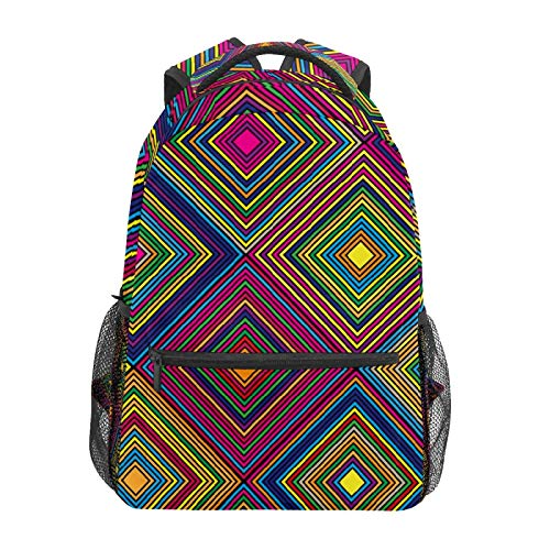 School Backpack Aztec Rainbow Diamond Pattern Casual Travel Laptop Daypack Canvas Book Bags for Woman Girls Boys Student Adult Men