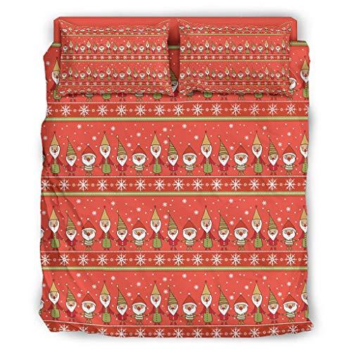 Ropa de cama de microfibra de 4 piezas, funda nórdica con estampado, funda de edredón mullida con cremallera y 2 fundas de almohada, sábana bajera para casa Queen Twin, color blanco, 175 x 218 cm
