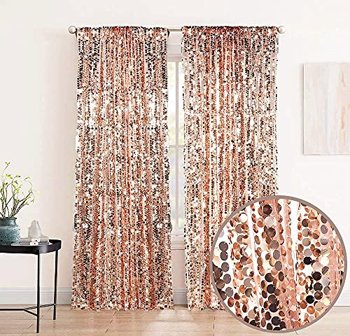 XINGMAO 9FT x 9 FT Rose Gold Big Payette Sequin