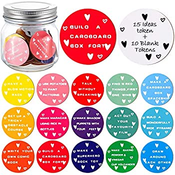 Everyday Wish Jar Guest Book 15 Pieces Round Wood Coins with Assorted Ideas 10 Pieces Blank Tokens for Adult and Children