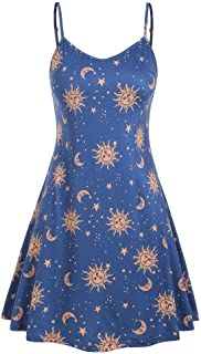Women's Plus Size Sling Beach Sundress Casual Spaghetti Strap Floral Printed Swing Dress FBA