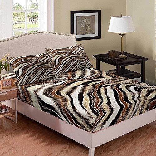 Matasuer Bedding Bedroom Collection Duvet Cover Set - Creative White Brown Tiger Pattern Animal - Single (135 X 200 Cm) 2 Pillowcase 50 X 75 Cm Soft Easy Care Anti-Allergic Bedding Set Gift For Teens