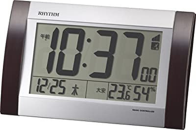 リズム(RHYTHM) 目覚まし時計 電波 デジタル フィットウェーブD169 置き ・ 掛け 兼用 六曜 カレンダー 温度 ・ 湿度 付 茶 RHYTHM 8RZ169SR23