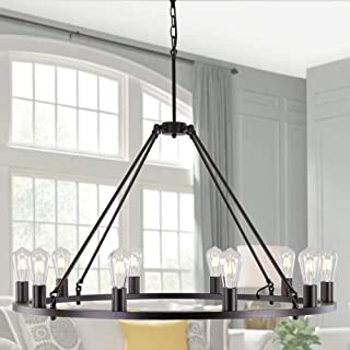 Sponsored Ad - OSAIRUOS W39`` Vintage Rustic Rod Iron Chandelier Farmhouse Ceiling Pendant Chandeliers Lighting Fixture In...
