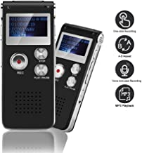 Mini Voice Recorder for Lectures Meetings&Class -aiworth 8GB Digital Activate Audio Tape Recording Device with Double Sensitive Microphone&MP3 Playback