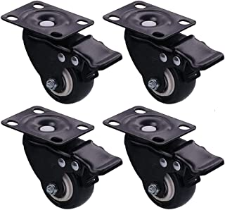 AXF Heavy-Duty Castors, 1.5-in Swivel Brake Casters, Noise-Free Polyurethane Caster Wheels, for Furniture Cabinet Carts, Load Capacity 200kg, 4 Pieces