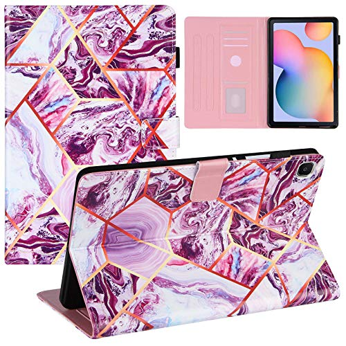 ZOOMALL Funda tipo libro para Samsung Galaxy Tab S6 lite 10.4 (P610/P615) 2020 Premium de piel vegana con soporte para lápiz y función de encendido automático, color morado