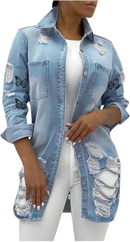 HUOJING Ripped Denim Jacket for Women Mid-Length Coats Butterfly Print Long Sleeve Button-Down Shirt Outwear, Light Blue, M