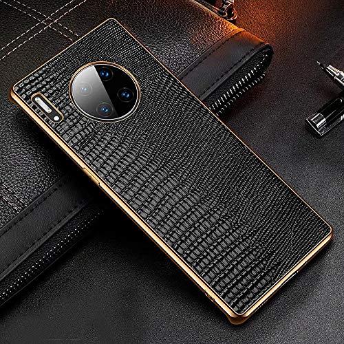 HHF accesorios de teléfono celular para Huawei Mate 40 30 mate30, chapado de TPU marco de lagarto Litch patrón de cuero genuino funda a prueba de golpes para Huawei P30 P40 Pro Plus