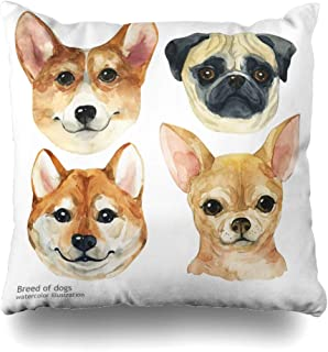 Ahawoso Throw Pillow Cover Square 16x16 Cute Poster Dog Puppy Set Isolated On Sketch Siba Silhouette Animals Pet Letter Nature Wildlife Decorative Cushion Case Home Decor Zippered Pillowcase