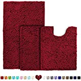 BYSURE Burgundy Red Bathroom Rug Set 3 Piece Non Slip Extra Absorbent Shaggy Chenille Bathroom Mats and Rugs Sets, Soft & Dry Bath Rug/Mat Sets for Bathroom Washable Carpets Set