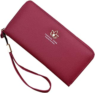 SYGA Women's Beautiful Wallet Long Mobile Phone Bag Ladies Zipper Leather Wallets Hand Clutch Card Holder