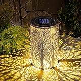 Linterna Solar Exterior Jardín, Farol Solar Jardín, LED Luz Colgante Solar del Jardín, IP44 Impermeable Lámpara Farolillo Solar, Luces de Metal de Jardín Decorativas para Camping Terraza Patio Navidad