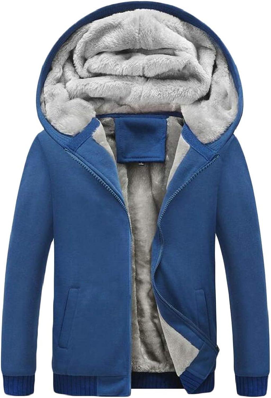 ChenshibaAU Mens Winter Fleece Solid Hooded Parka Coat Jacket Hoodie Sweatshirt