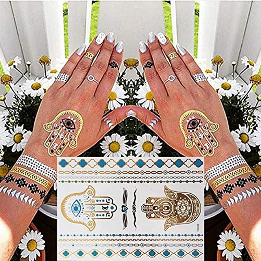 Gold Tattoo Silver Waterproof Temporary Tattoos Stickers On The Body Women Flash Tattoo Stickers Men YH008
