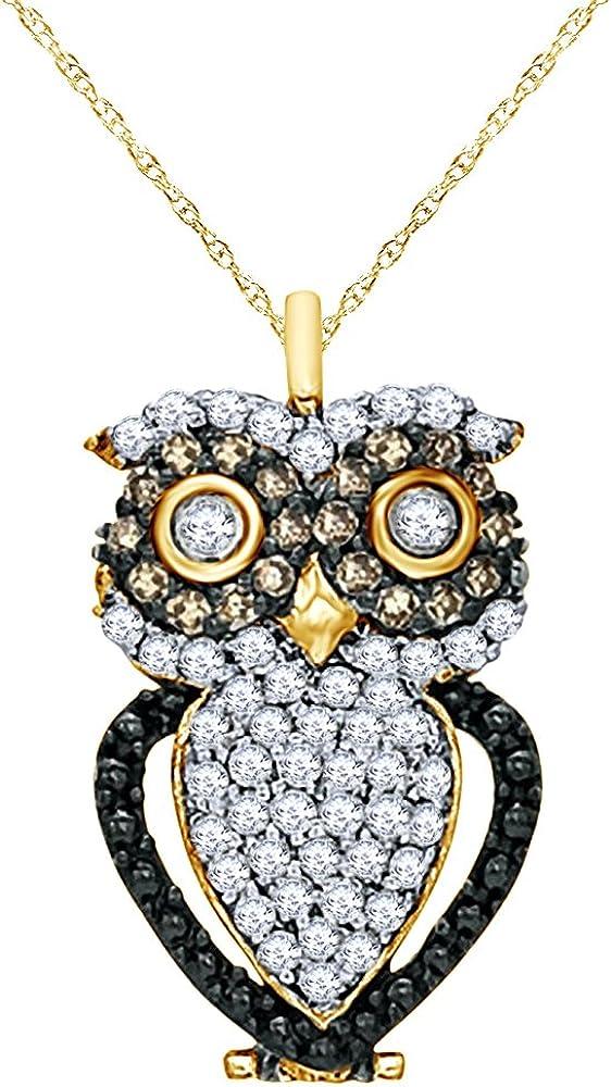 Wishrocks 1 3 CT Natural Champagne Finally resale New Orleans Mall start N Diamond White Owl Pendant