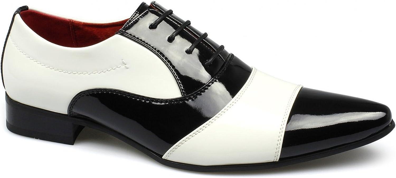 Rossellini Marco svart vit Patent Man skor skor skor läder Lined 4 Eyes Lace Up  till salu