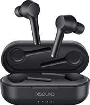 KSOUND True Wireless Earbuds Bluetooth 5 Headphones in Ear with Charging Case, Hands-Free Headset with Noise Isolation Mic, Deep Bass Touch Control Waterproof 30H Playback for iPhone and Android (K01)