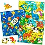 Puzzle de Madera Niños 4 5 6 7 Años - 3 Juguetes Niños 4 Años 30 Piezas Puzzle Madera - Juegos Educativos Niños 4 Años com Animales Dinosaurios Espacio - Regalo Niñas y Niños 5 6 7 Años
